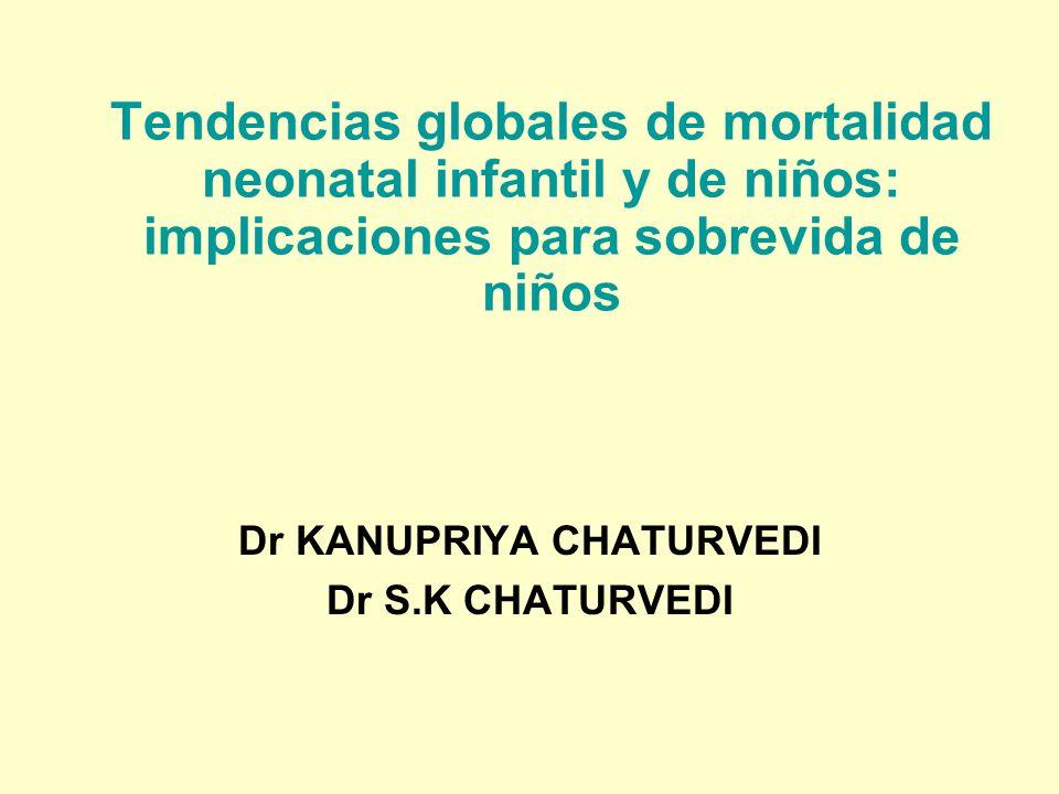 Tendencias globales de mortalidad neonatal infantil y de niños: implicaciones para sobrevida de niños Dr KANUPRIYA CHATURVEDI Dr S.K CHATURVEDI