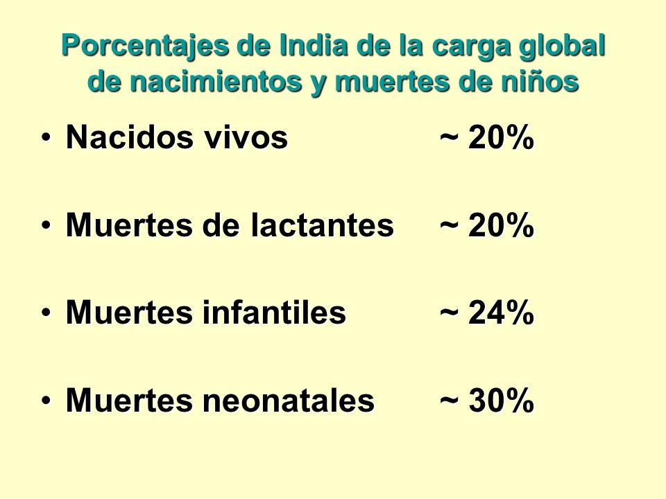 Porcentajes de India de la carga global de nacimientos y muertes de niños Nacidos vivos~ 20%Nacidos vivos~ 20% Muertes de lactantes~ 20%Muertes de lac