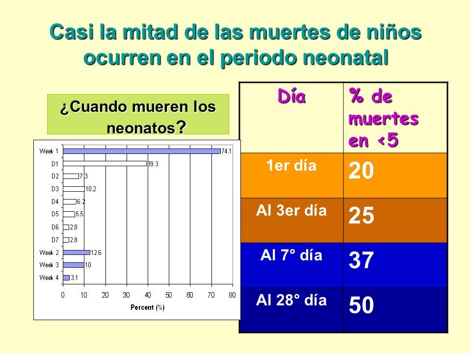 Casi la mitad de las muertes de niños ocurren en el periodo neonatal Día % de muertes en <5 1er día 20 Al 3er día 25 Al 7° día 37 Al 28° día 50 ¿Cuand