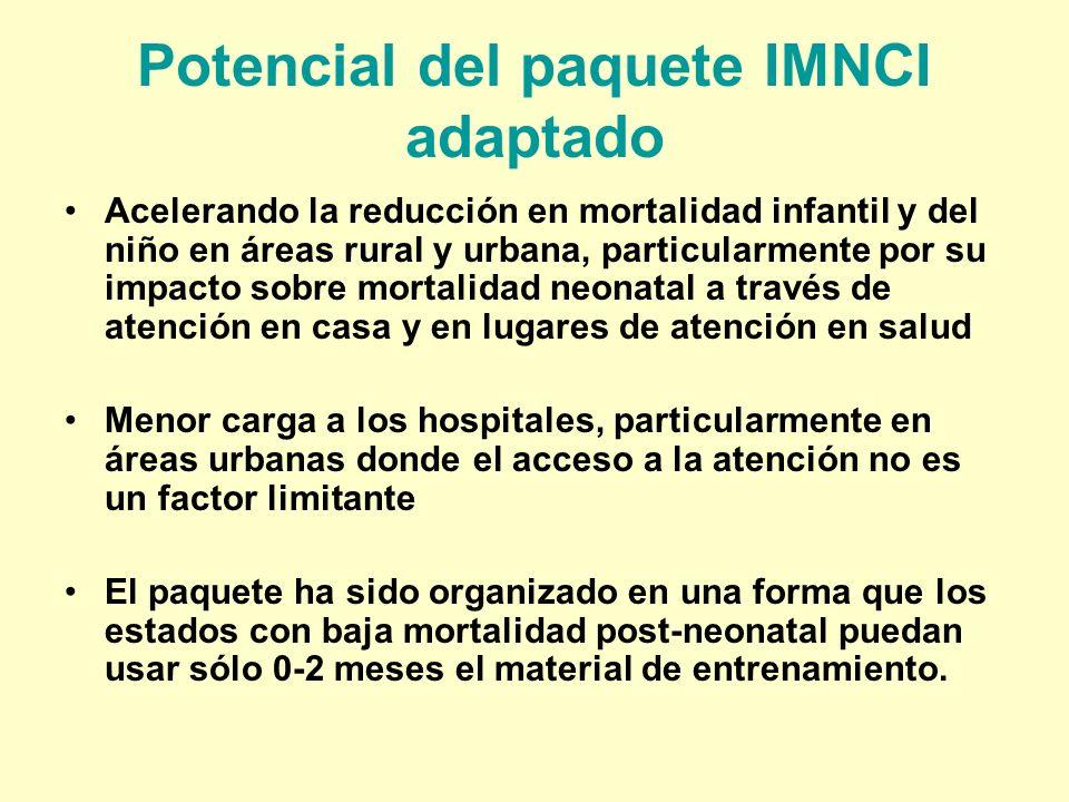 Potencial del paquete IMNCI adaptado Acelerando la reducción en mortalidad infantil y del niño en áreas rural y urbana, particularmente por su impacto
