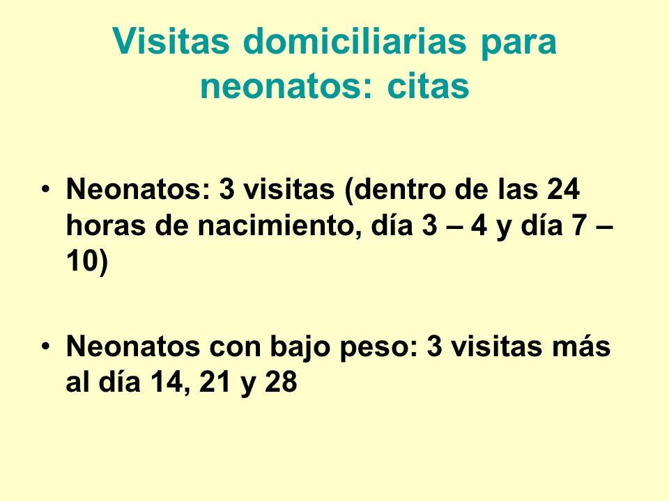 Visitas domiciliarias para neonatos: citas Neonatos: 3 visitas (dentro de las 24 horas de nacimiento, día 3 – 4 y día 7 – 10) Neonatos con bajo peso:
