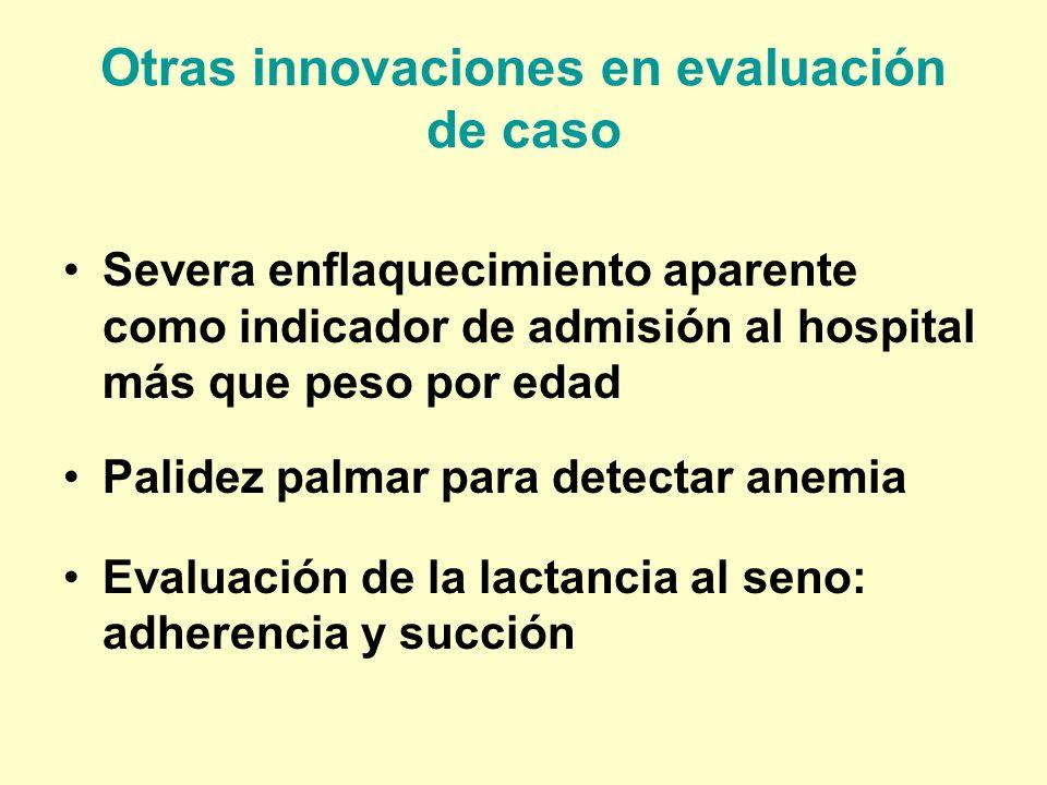 Otras innovaciones en evaluación de caso Severa enflaquecimiento aparente como indicador de admisión al hospital más que peso por edad Palidez palmar
