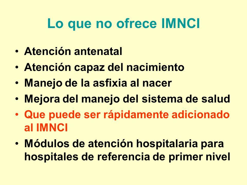 Lo que no ofrece IMNCI Atención antenatal Atención capaz del nacimiento Manejo de la asfixia al nacer Mejora del manejo del sistema de salud Que puede