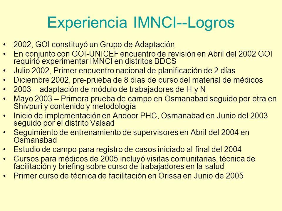 Experiencia IMNCI--Logros 2002, GOI constituyó un Grupo de Adaptación En conjunto con GOI-UNICEF encuentro de revisión en Abril del 2002 GOI requirió