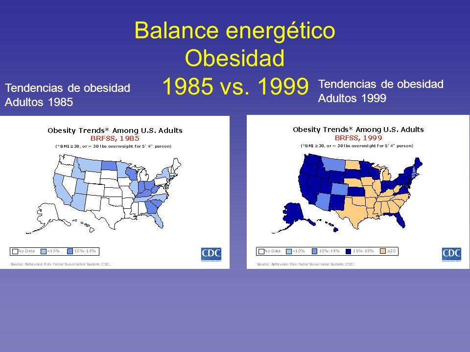 Balance energético Obesidad 1985 vs. 1999 Tendencias de obesidad Adultos 1985 Tendencias de obesidad Adultos 1999