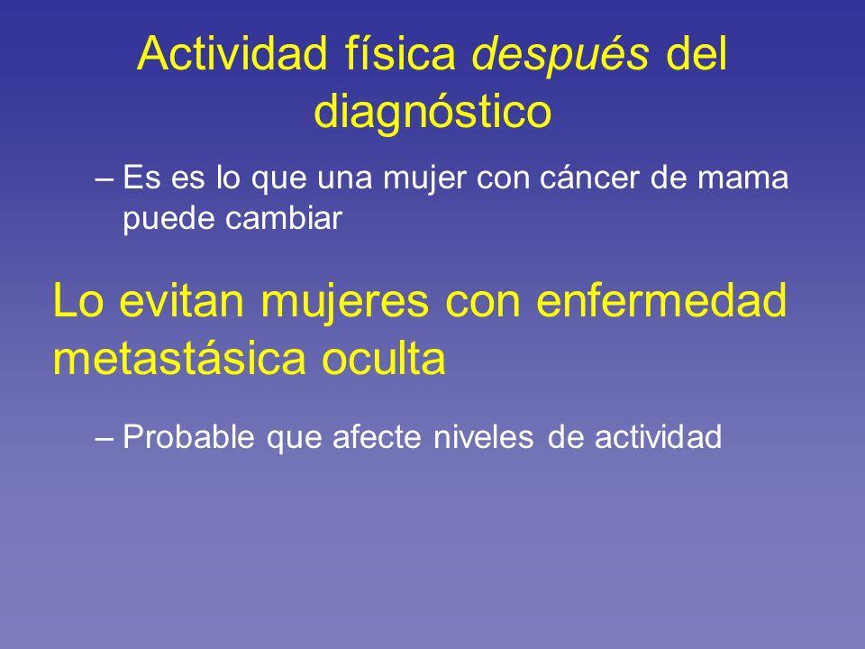 Actividad física después del diagnóstico –Es es lo que una mujer con cáncer de mama puede cambiar Lo evitan mujeres con enfermedad metastásica oculta