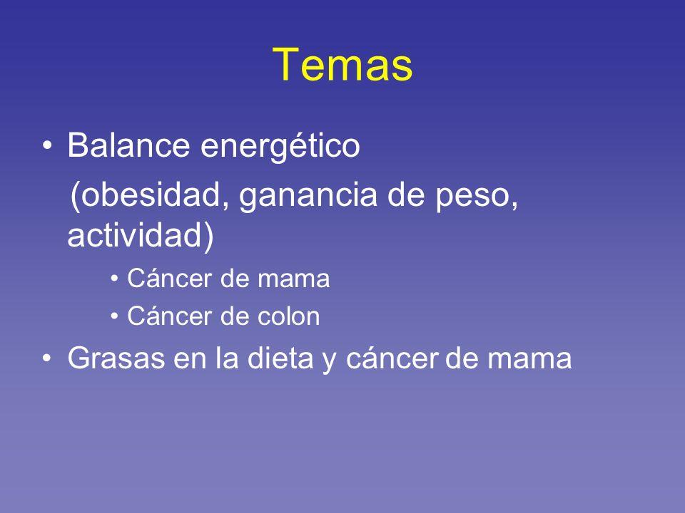 Temas Balance energético (obesidad, ganancia de peso, actividad) Cáncer de mama Cáncer de colon Grasas en la dieta y cáncer de mama
