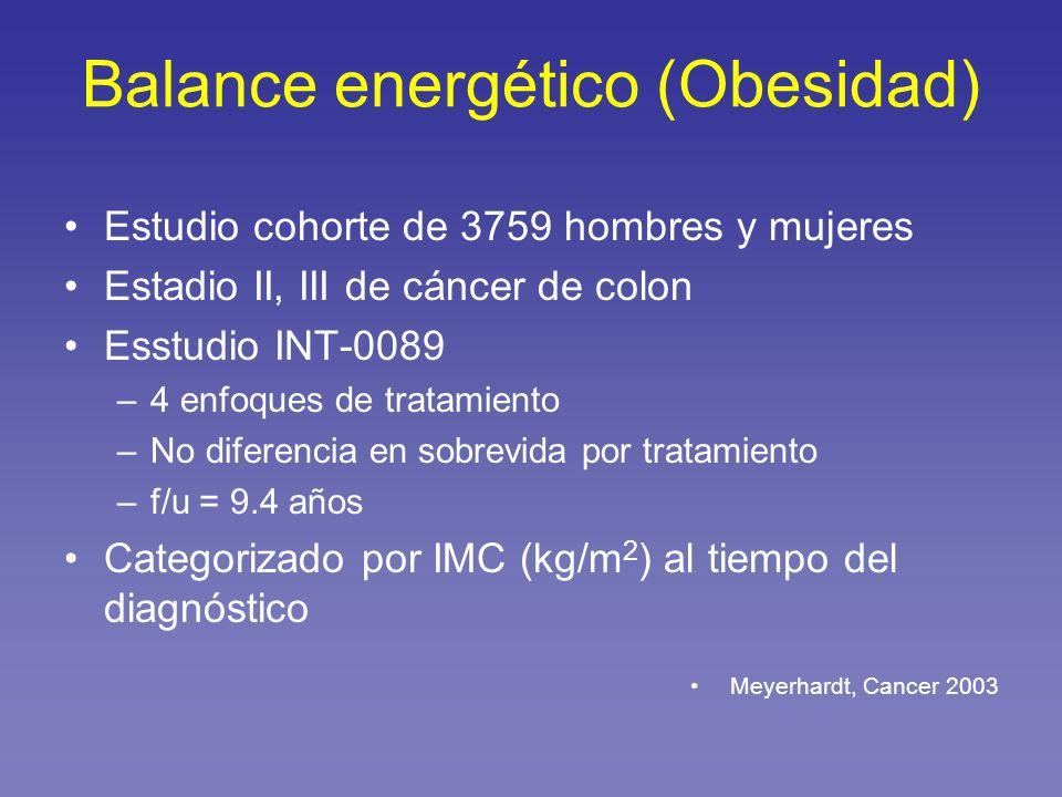 Estudio cohorte de 3759 hombres y mujeres Estadio II, III de cáncer de colon Esstudio INT-0089 –4 enfoques de tratamiento –No diferencia en sobrevida