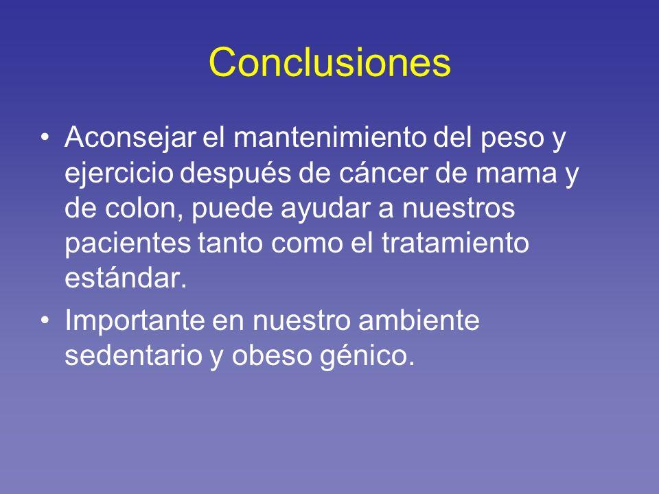 Conclusiones Aconsejar el mantenimiento del peso y ejercicio después de cáncer de mama y de colon, puede ayudar a nuestros pacientes tanto como el tra