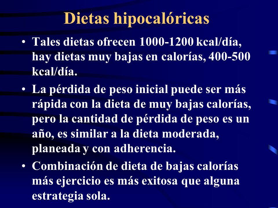 Dietas hipocalóricas Tales dietas ofrecen 1000-1200 kcal/día, hay dietas muy bajas en calorías, 400-500 kcal/día. La pérdida de peso inicial puede ser