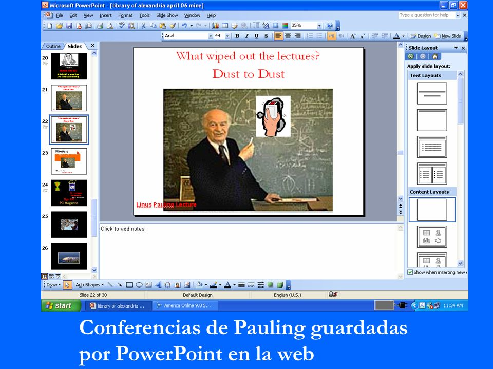 Conferencias de Pauling guardadas por PowerPoint en la web