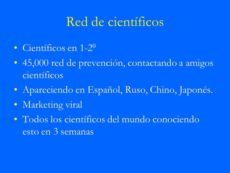 Red de científicos Científicos en 1-2 0 45,000 red de prevención, contactando a amigos científicos Apareciendo en Español, Ruso, Chino, Japonés. Marke
