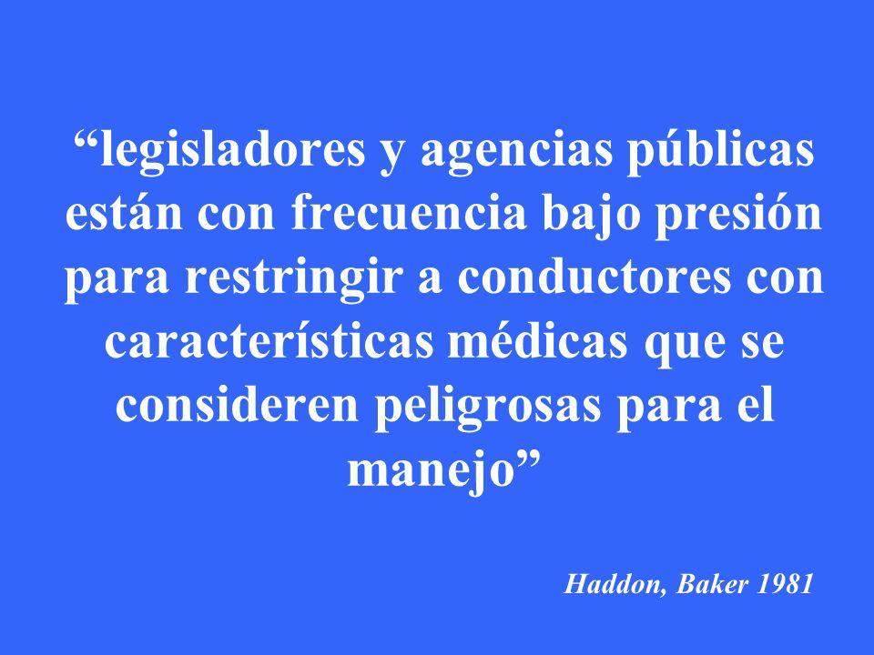 legisladores y agencias públicas están con frecuencia bajo presión para restringir a conductores con características médicas que se consideren peligrosas para el manejo Haddon, Baker 1981