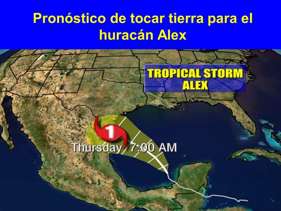 Pronóstico de tocar tierra para el huracán Alex