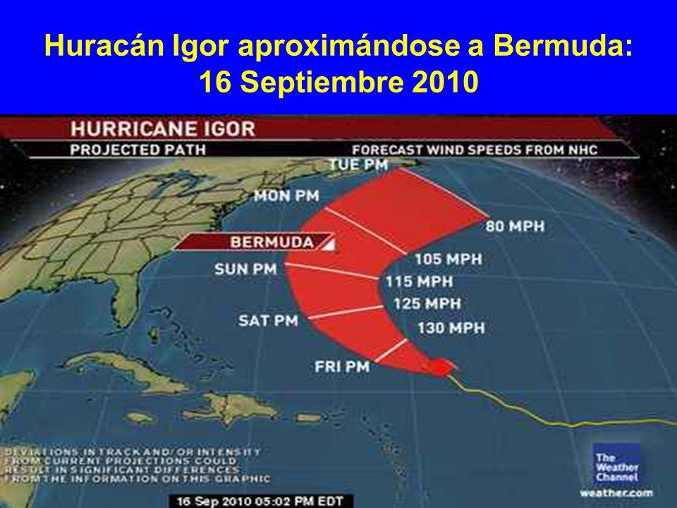 Huracán Igor aproximándose a Bermuda: 16 Septiembre 2010