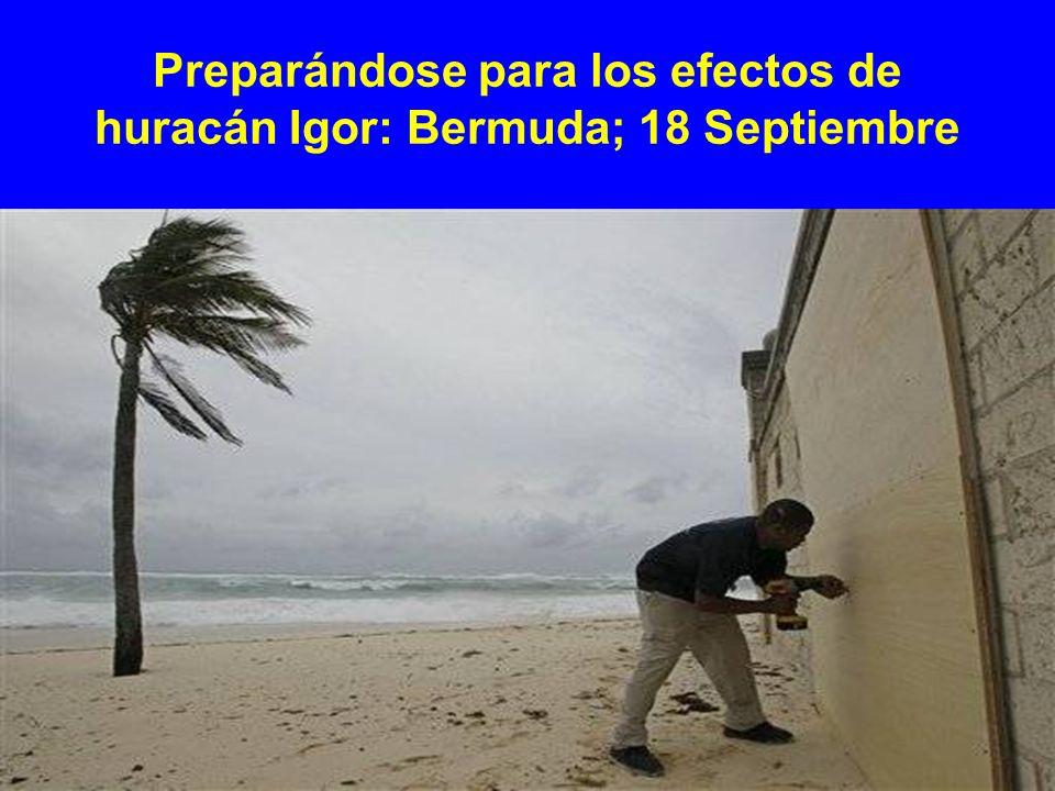 Preparándose para los efectos de huracán Igor: Bermuda; 18 Septiembre