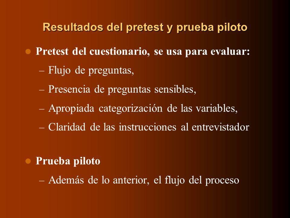Resultados del pretest y prueba piloto Pretest del cuestionario, se usa para evaluar: – Flujo de preguntas, – Presencia de preguntas sensibles, – Apro