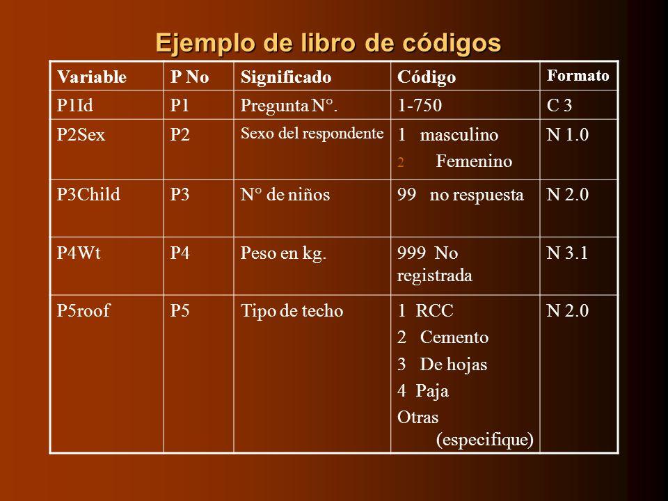 Ejemplo de libro de códigos VariableP NoSignificadoCódigo Formato P1IdP1Pregunta N°.1-750C 3 P2SexP2 Sexo del respondente 1 masculino 2 Femenino N 1.0