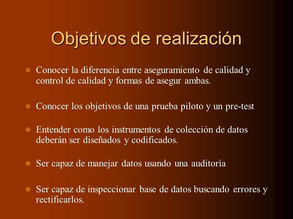 Objetivos de realización Conocer la diferencia entre aseguramiento de calidad y control de calidad y formas de asegur ambas. Conocer los objetivos de