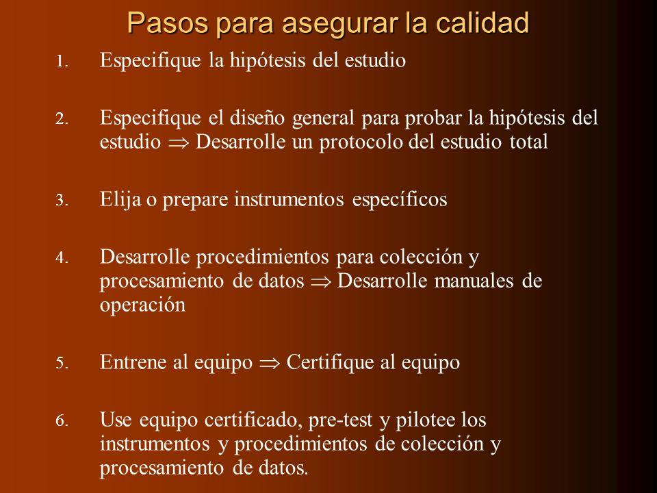 Pasos para asegurar la calidad 1. Especifique la hipótesis del estudio 2. Especifique el diseño general para probar la hipótesis del estudio Desarroll