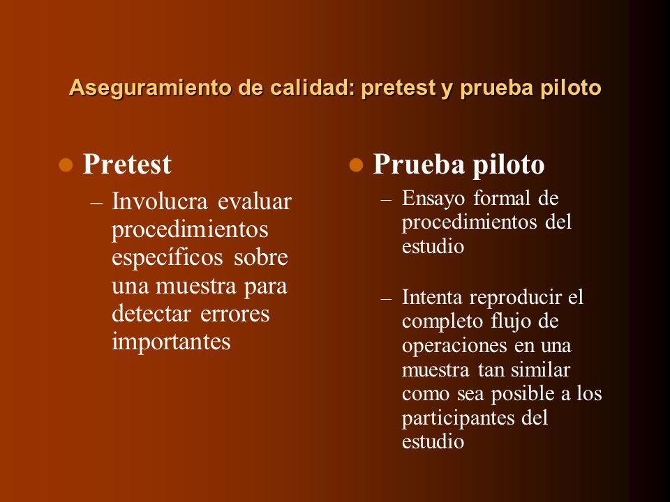 Aseguramiento de calidad: pretest y prueba piloto Pretest – Involucra evaluar procedimientos específicos sobre una muestra para detectar errores impor