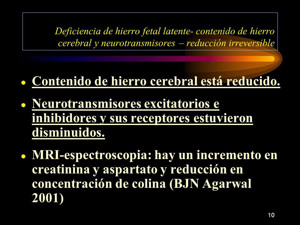 10 Deficiencia de hierro fetal latente- contenido de hierro cerebral y neurotransmisores – reducción irreversible Contenido de hierro cerebral está re