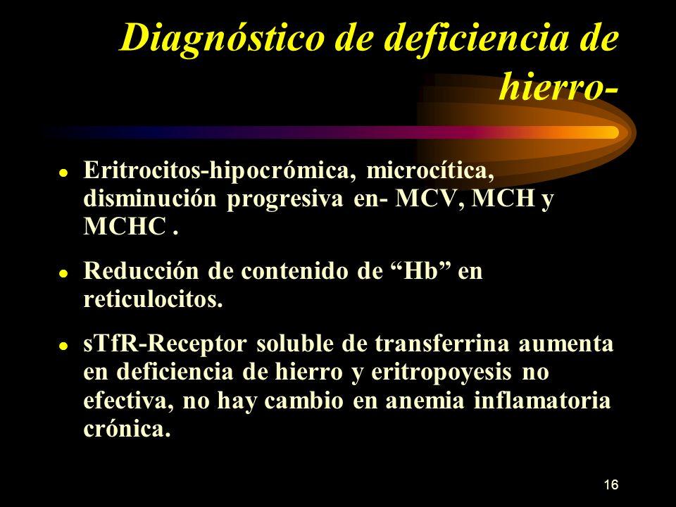 16 Diagnóstico de deficiencia de hierro- Eritrocitos-hipocrómica, microcítica, disminución progresiva en- MCV, MCH y MCHC. Reducción de contenido de H