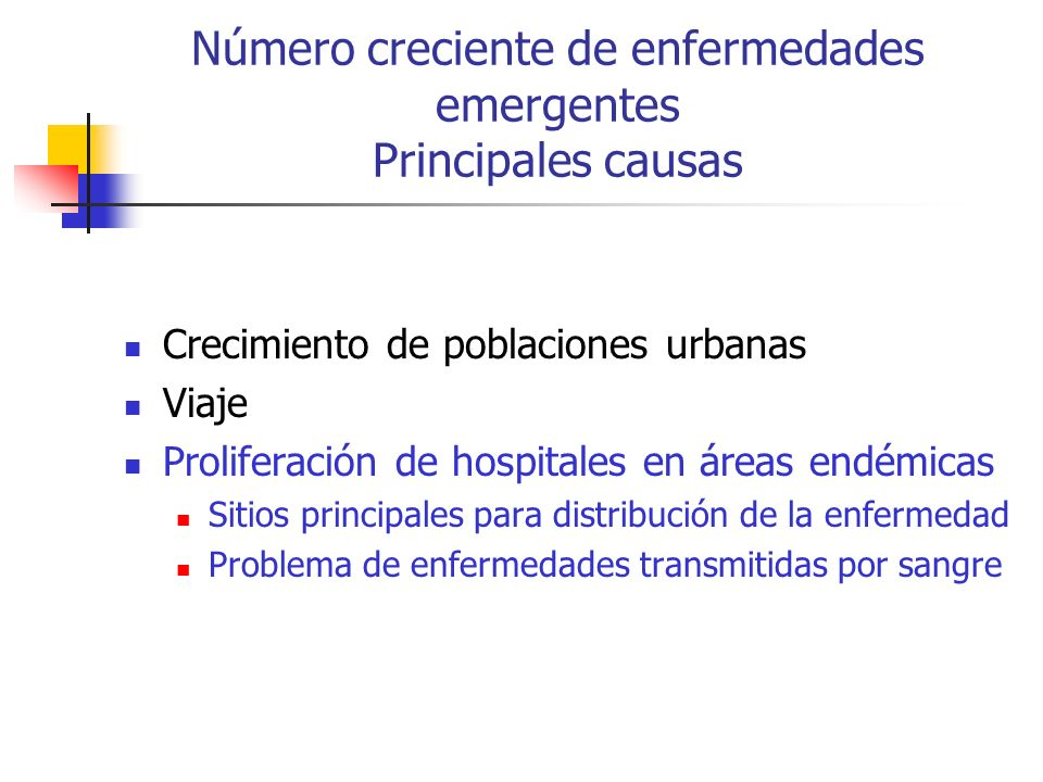 Crecimiento de poblaciones urbanas Viaje Proliferación de hospitales en áreas endémicas Sitios principales para distribución de la enfermedad Problema