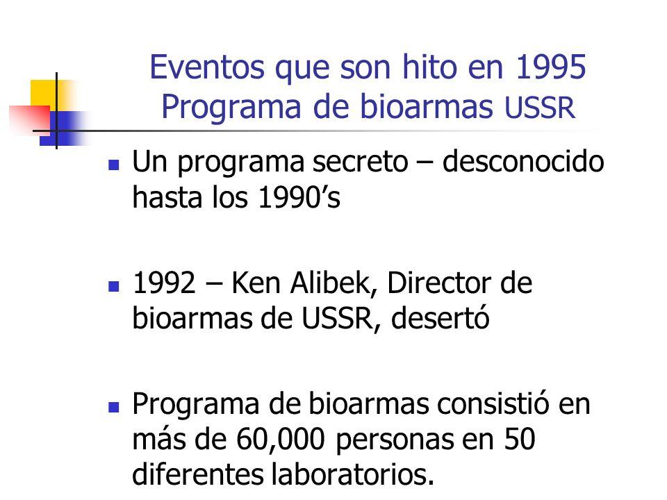 Eventos que son hito en 1995 Programa de bioarmas USSR Un programa secreto – desconocido hasta los 1990s 1992 – Ken Alibek, Director de bioarmas de US