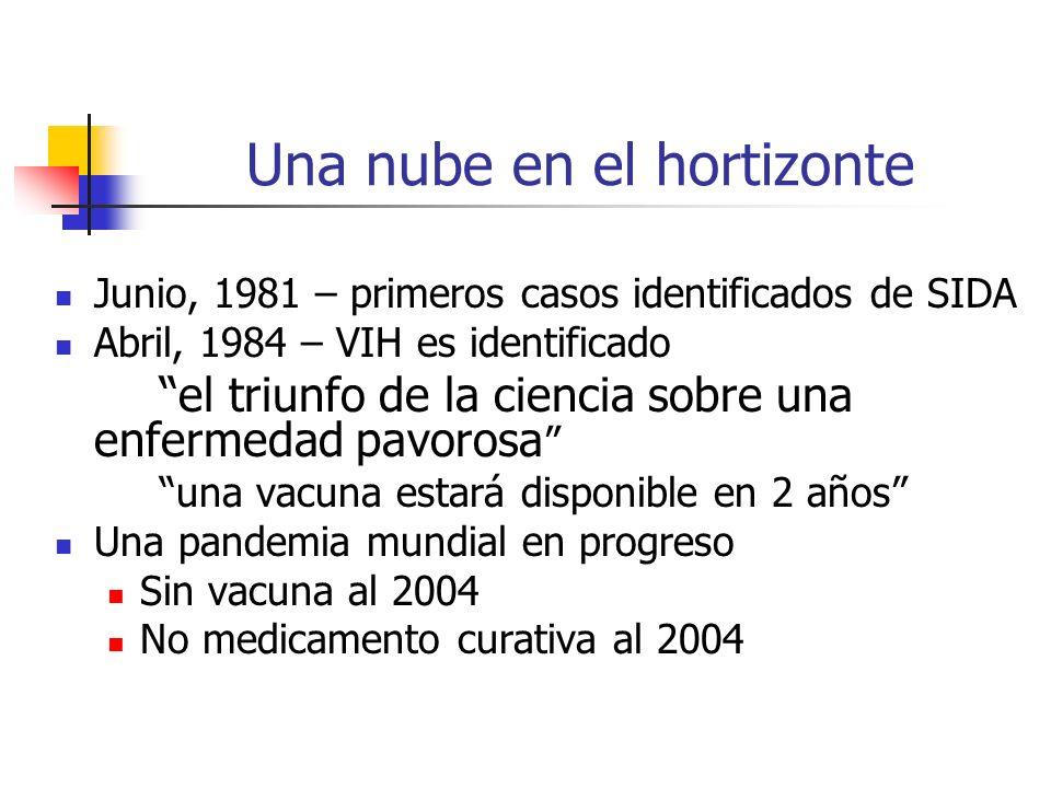 Una nube en el hortizonte Junio, 1981 – primeros casos identificados de SIDA Abril, 1984 – VIH es identificado el triunfo de la ciencia sobre una enfe