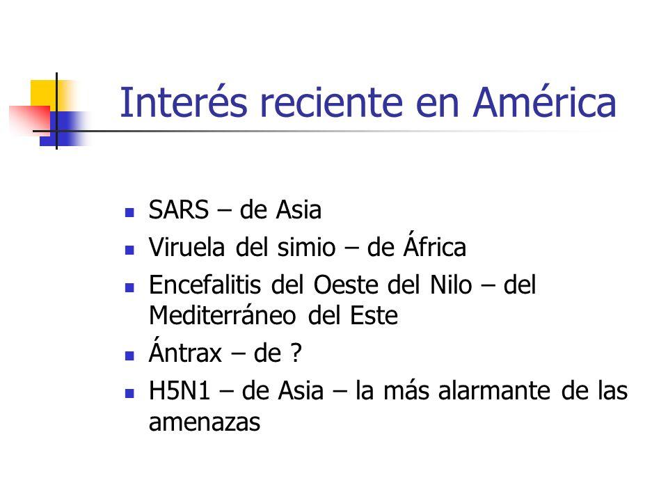 Interés reciente en América SARS – de Asia Viruela del simio – de África Encefalitis del Oeste del Nilo – del Mediterráneo del Este Ántrax – de ? H5N1
