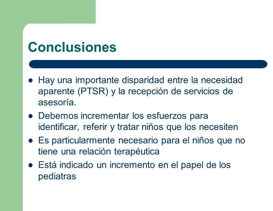 Conclusiones Hay una importante disparidad entre la necesidad aparente (PTSR) y la recepción de servicios de asesoría.