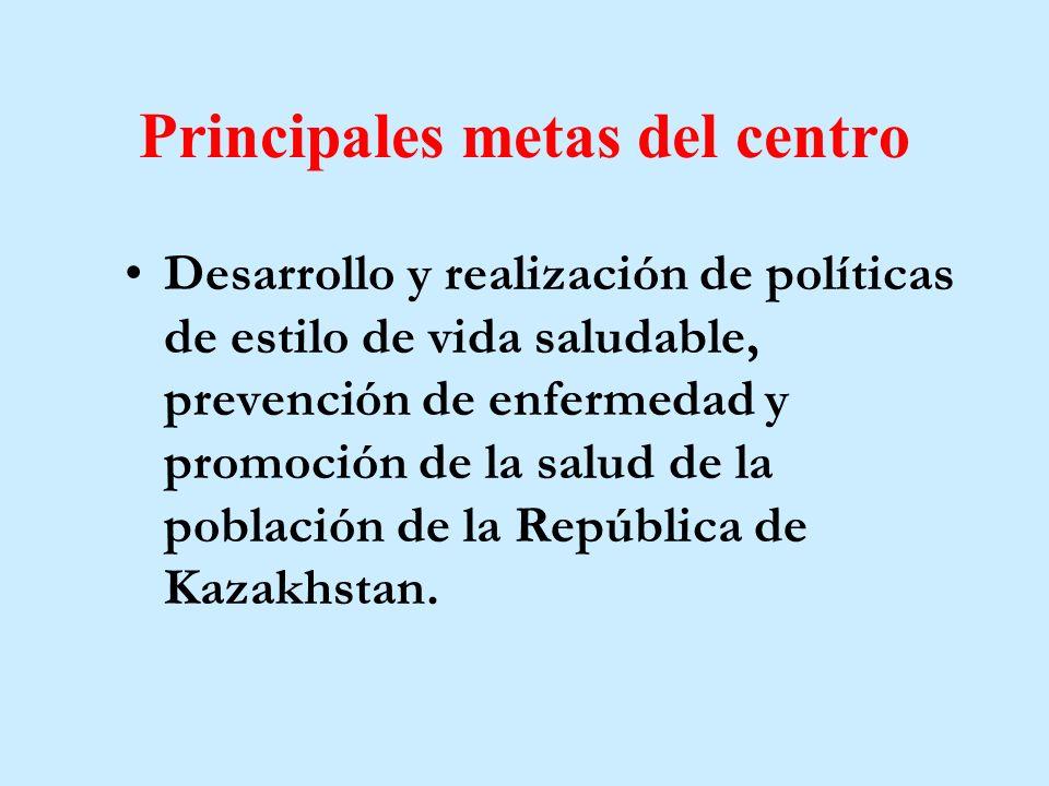 Principales metas del centro Desarrollo y realización de políticas de estilo de vida saludable, prevención de enfermedad y promoción de la salud de la población de la República de Kazakhstan.