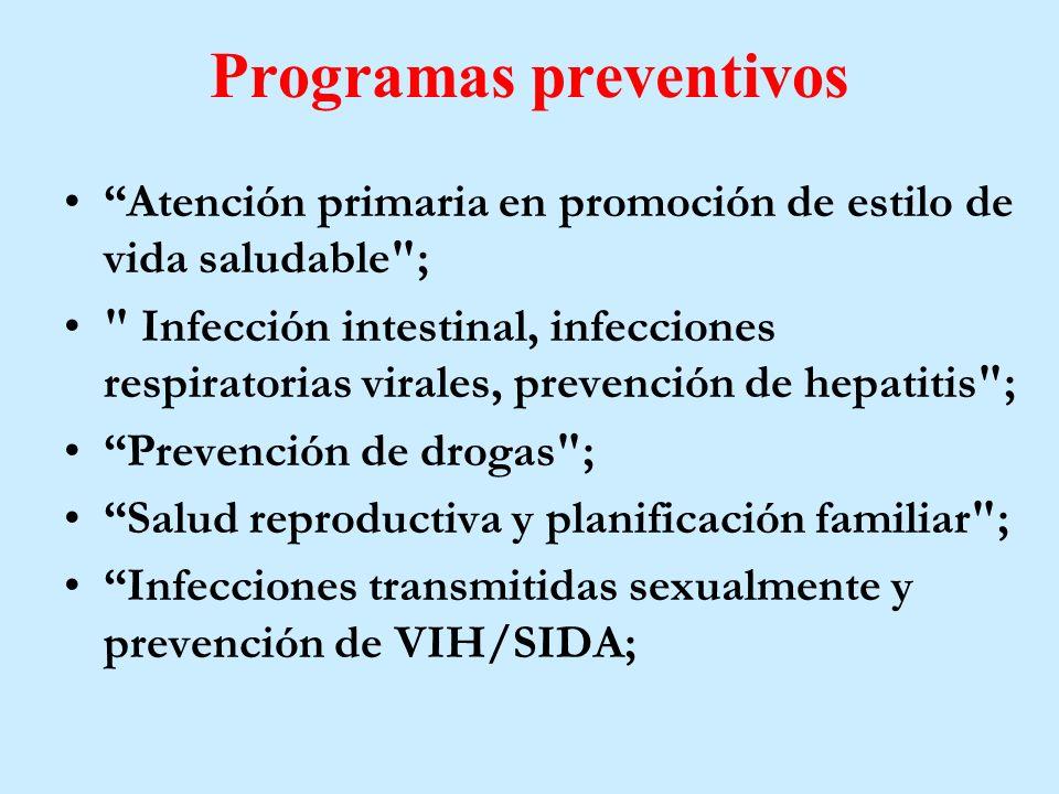 Programas preventivos Atención primaria en promoción de estilo de vida saludable ; Infección intestinal, infecciones respiratorias virales, prevención de hepatitis ; Prevención de drogas ; Salud reproductiva y planificación familiar ; Infecciones transmitidas sexualmente y prevención de VIH/SIDA;