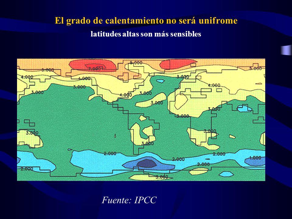 El grado de calentamiento no será unifrome latitudes altas son más sensibles Fuente: IPCC