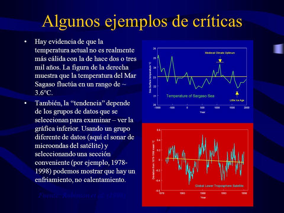Algunos ejemplos de críticas Hay evidencia de que la temperatura actual no es realmente más cálida con la de hace dos o tres mil años. La figura de la