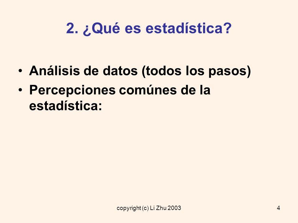 copyright (c) Li Zhu 20035 2.¿Qué es estadística.