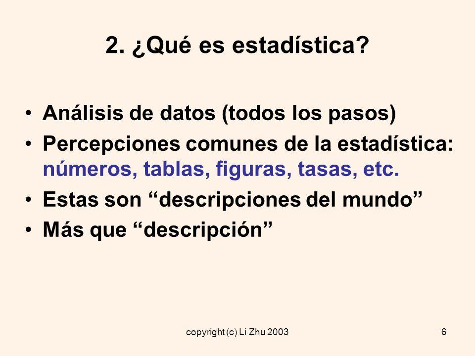 copyright (c) Li Zhu 20037 2.1 ¿Qué es estadística.