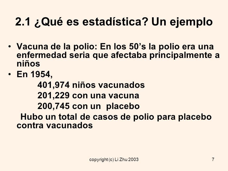 copyright (c) Li Zhu 20038 2.1 ¿Qué es estadística.