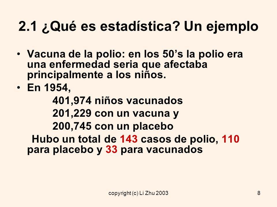 copyright (c) Li Zhu 20039 2.1 ¿Qué es estadística.