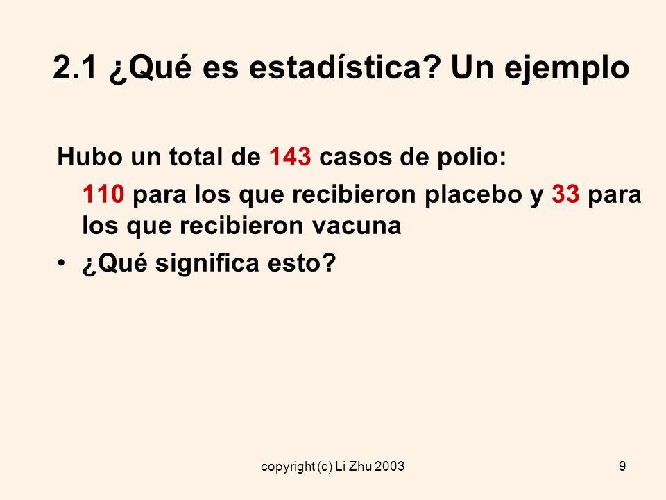 copyright (c) Li Zhu 200310 2.1 ¿Qué es estadística.