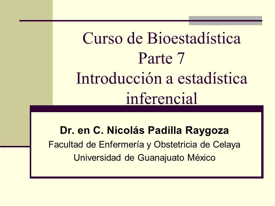 Curso de Bioestadística Parte 7 Introducción a estadística inferencial Dr. en C. Nicolás Padilla Raygoza Facultad de Enfermería y Obstetricia de Celay