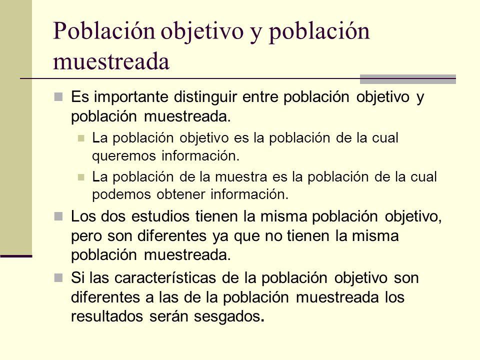 Población objetivo y población muestreada Es importante distinguir entre población objetivo y población muestreada. La población objetivo es la poblac