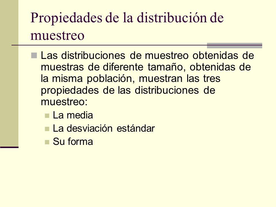 Propiedades de la distribución de muestreo Las distribuciones de muestreo obtenidas de muestras de diferente tamaño, obtenidas de la misma población,