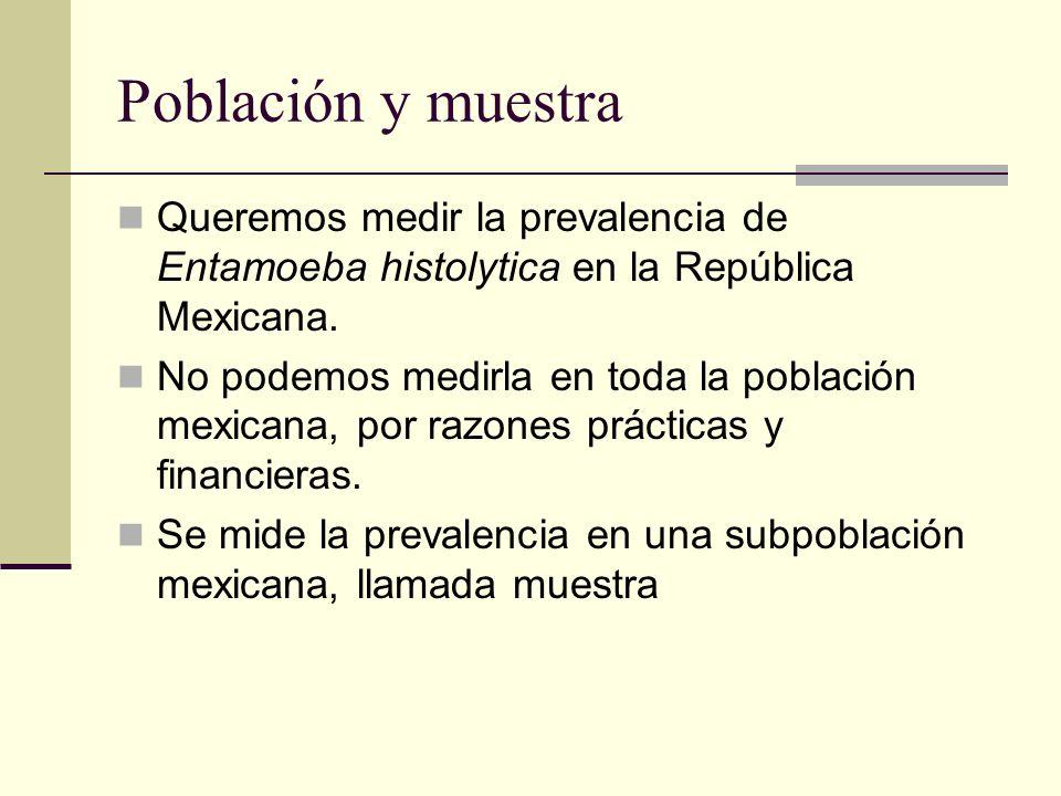 Población y muestra Queremos medir la prevalencia de Entamoeba histolytica en la República Mexicana. No podemos medirla en toda la población mexicana,