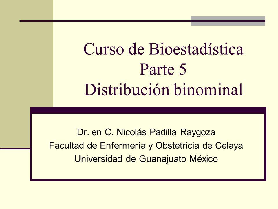 Curso de Bioestadística Parte 5 Distribución binominal Dr. en C. Nicolás Padilla Raygoza Facultad de Enfermería y Obstetricia de Celaya Universidad de