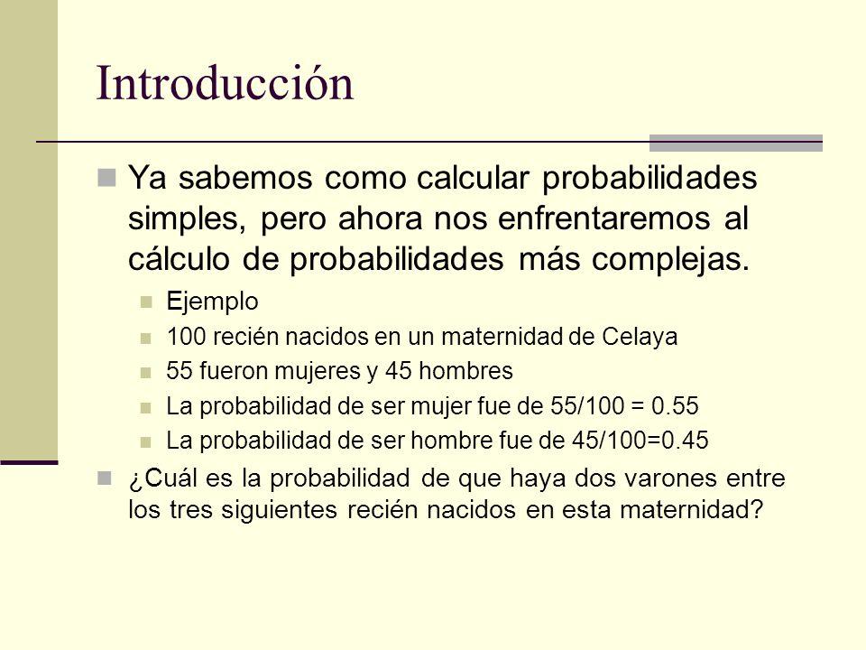 Introducción Ya sabemos como calcular probabilidades simples, pero ahora nos enfrentaremos al cálculo de probabilidades más complejas. Ejemplo 100 rec
