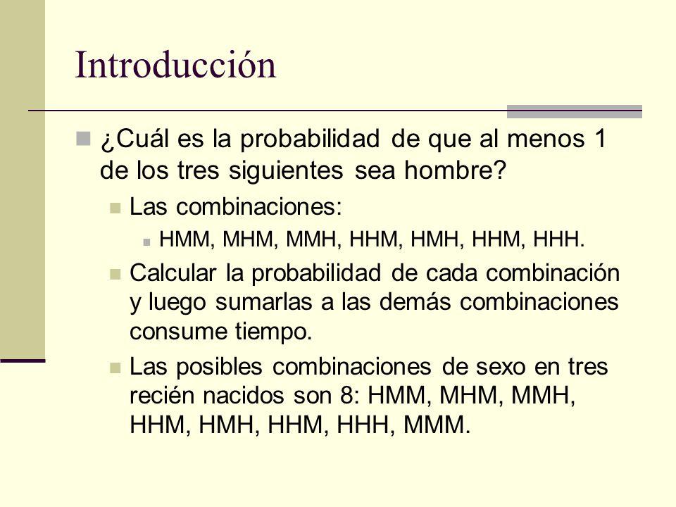 Introducción ¿Cuál es la probabilidad de que al menos 1 de los tres siguientes sea hombre? Las combinaciones: HMM, MHM, MMH, HHM, HMH, HHM, HHH. Calcu