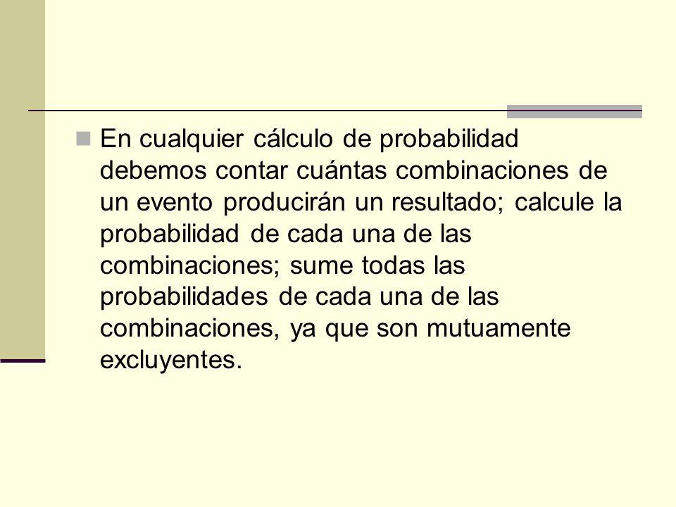 En cualquier cálculo de probabilidad debemos contar cuántas combinaciones de un evento producirán un resultado; calcule la probabilidad de cada una de