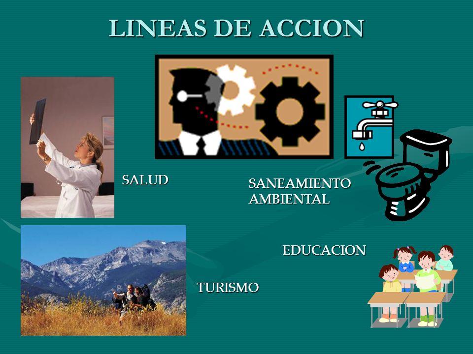 LINEAS DE ACCION SALUD SANEAMIENTO AMBIENTAL EDUCACION TURISMO